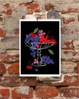 【オーダーメイド】ANEK   Still Life - Grapes & Cherries   アートプリント/ポスター (50x70cm)【北欧 カフェ レストラン インテリア おしゃれ】の商品画像