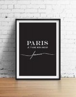 LOVELY POSTERS | PARIS JE T'AIME MON AMOUR (black) | A2 アートプリント/ポスター