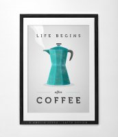 LATTE DESIGN | Life begins after coffee print | A3 アートプリント/ポスター