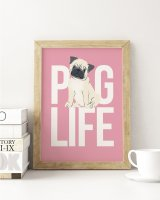 THE LOVE SHOP | PUG LIFE (pink) | A3 アートプリント/ポスターの商品画像