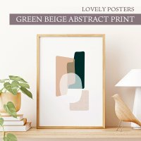 LOVELY POSTERS | GREEN BEIGE ABSTRACT PRINT | A3 アートプリント/ポスターの商品画像