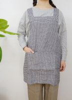 not PERFECT LINEN | SHORT SQUARE CROSS LINEN APRON (small gingham) | エプロン