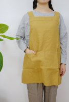 【ネコポス送料無料】not PERFECT LINEN | SHORT SQUARE CROSS LINEN APRON (amber yellow) | エプロンの商品画像