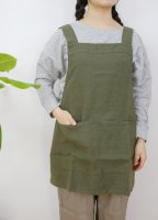 not PERFECT LINEN | SHORT SQUARE CROSS LINEN APRON (heavy linen khaki) | エプロン