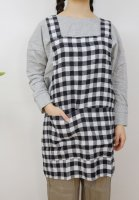 not PERFECT LINEN | SHORT SQUARE CROSS LINEN APRON (large gingham) | エプロン