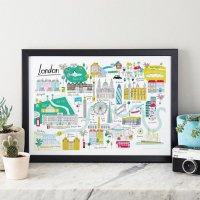 JESSICA HOGARTH | LONDON MAP ART PRINT | A3 アートプリント/ポスター【北欧 リビング おしゃれ】の商品画像