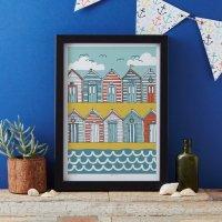 JESSICA HOGARTH | BEACH HUTS ART PRINT | A3 アートプリント/ポスター【北欧 リビング おしゃれ】の商品画像