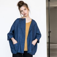 not PERFECT LINEN | Washed oversized short linen cardigan/jacket(blue linen/wool blend)の商品画像