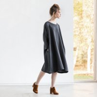 not PERFECT LINEN | Oversized loose fitting linen dress (charcoal)の商品画像