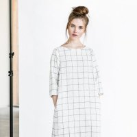 not PERFECT LINEN | WASHED AND SOFT LINEN DRESS (large checks)の商品画像