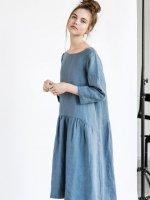 【在庫残り1】not PERFECT LINEN | Linen dress with sleeves and DROP SIDES (petrol blue)の商品画像