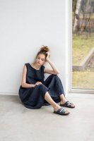 not PERFECT LINEN | Maxi washed linen summer dress (charcoal)【リネン 麻 杢 チャコール リトアニア 北欧 東欧 シンプル おしゃれ 】の商品画像