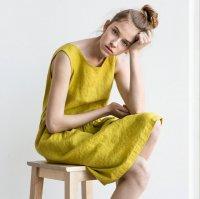 not PERFECT LINEN   Loose linen sleeveless summer dress (greenish mustard)   着丈95cmの商品画像