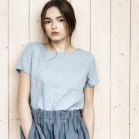 not PERFECT LINEN | BASIC LINEN T SHIRT (bluish grey) | シャツ | レディース UK8/Sの商品画像