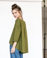 not PERFECT LINEN | Washed linen cropped front top LEAF in moss greenの商品画像