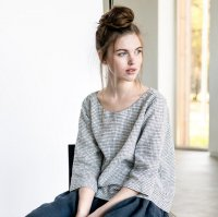 not PERFECT LINEN | WASHED AND SOFT LOOSE LINEN TOP JANUARY (small checks)の商品画像