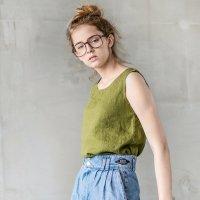 not PERFECT LINEN | LINEN TANK TOP (moss green) | タンクトップ | レディース UK8/Sの商品画像