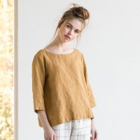 not PERFECT LINEN | Washed linen top JANUARY (amber yellow) UK8/S | トップスの商品画像