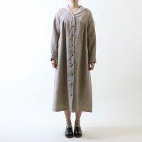 MAGALI | オーバーダイリネン・セーラー襟ワンピース (beige stripe) | ワンピースの商品画像