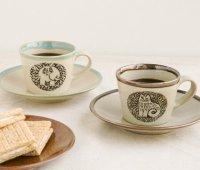 LISA LARSON (リサ・ラーソン) | 益子のコーヒーカップ&ソーサ ゾウ  | ブラウンの商品画像