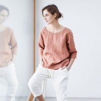not PERFECT LINEN | Loose linen top JANUARY (canyon clay) | UK8/Sの商品画像