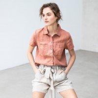 not PERFECT LINEN | Linen collar shirt DIJON (canyon clay) | UK8/Sの商品画像