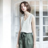 not PERFECT LINEN | Loose pleated - front BOYFRIEND linen pants (forest green) | ボトムス | レディース UK8/Sの商品画像