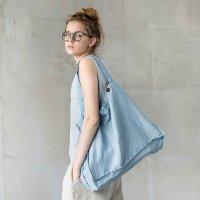 【ネコポス送料無料】not PERFECT LINEN | LARGE LINEN TOTE BAG (swedish blue) | トートバッグの商品画像