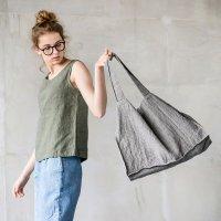 【ネコポス送料無料】not PERFECT LINEN | LARGE LINEN TOTE BAG (stripes) | トートバッグの商品画像