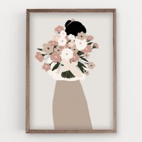 MICUSH | FLOWER LADY - FRONT BOUQUET ART PRINT | アートプリント/ポスター (30x40cm)