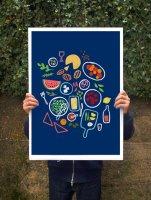 ANEK | Picnic is a state of mind (blue) Art Poster | アートプリント/ポスター (50x70cm)【北欧 カフェ レストラン インテリア おしゃれ】の商品画像