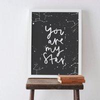 【ネコポス送料無料】OLD ENGLISH CO. | YOU ARE MY STAR CONSTELLATION PRINT | A4 アートプリント/ポスター【ロンドン 北欧 シンプル】の商品画像