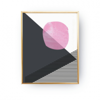 LOVELY POSTERS | PINK DARK GREY GEOMETRIC PRINT | A3 アートプリント/ポスター【北欧 シンプル おしゃれ】の商品画像