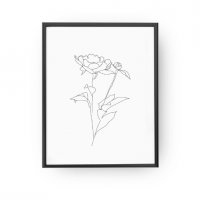 LOVELY POSTERS | PEONY LEAVES ONE BUD PRINT | A3 アートプリント/ポスター【北欧 シンプル おしゃれ】の商品画像