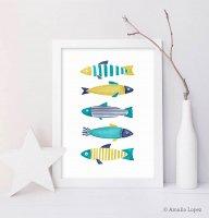 LATTE DESIGN   Fish print 2   A3 アートプリント/ポスター【ラッテデザイン インテリア オシャレ シンプル】の商品画像