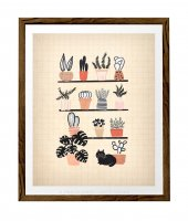 LATTE DESIGN   Plants and Black cat print   A3 アートプリント/ポスター【ラッテデザイン インテリア オシャレ シンプル】の商品画像