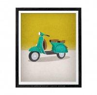 LATTE DESIGN   Vespa motorbike print   A3 アートプリント/ポスター【ラッテデザイン インテリア オシャレ シンプル】の商品画像