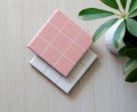 【ネコポス送料無料】TILISSIMO | SIMPLE GRID (white & rose) - CERAMIC TILE COASTER | セラミックコースター 2枚セット【北欧 シンプル】の商品画像
