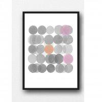 LOUISE ART STUDIO | PINK GRAY CIRCLES ART | A3 ポスター/アートプリント【北欧 アブストラクト 水彩】の商品画像