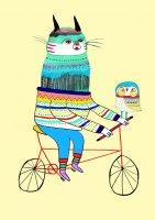 ASHLEY PERCIVAL | BLUE CAT ON BIKE | A3 ポスター/アートプリントの商品画像