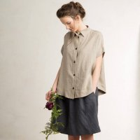 LOVELY HOME IDEA | Loose fit linen short sleeve shirt (flax grey)【リネン 麻 ナチュラル 半袖】