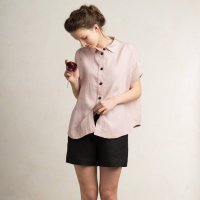 LOVELY HOME IDEA | Loose fit linen short sleeve shirt (dusty rose)【リネン 麻 ナチュラル 半袖】