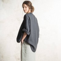 LOVELY HOME IDEA | Loose fit linen jacket/cardigan (charcoal)【リネン 麻 ナチュラル 半袖】