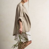 LOVELY HOME IDEA | Loose fit linen jacket/cardigan (flax grey)【リネン 麻 ナチュラル 半袖】