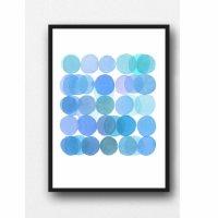 LOUISE ART STUDIO | BLUE BUBBLES ART | A3 ポスター/アートプリント【北欧 アブストラクト 水彩】の商品画像