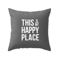 【ネコポス送料無料】LATTE HOME | THIS IS MY HAPPY PLACE GREY CUSHION COVER | クッションカバー