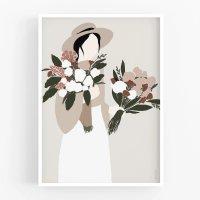 MICUSH | FLOWER LADY - HAT LADY ART PRINT | アートプリント/ポスター (30x40cm)