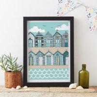 JESSICA HOGARTH | BEACH HUTS ART PRINT (blue & sand) | A3 アートプリント/ポスター【北欧 リビング おしゃれ】の商品画像