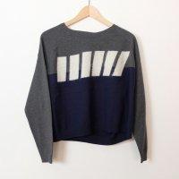 sneeuw (スニュウ) | スラントストライプニット (grey) | トップス【送料無料 スニュウ カジュアル シンプル ユニセックス】の商品画像