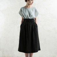 LOVELY HOME IDEA | Long linen skirt (black)【リネン 麻 ナチュラル スカート】の商品画像